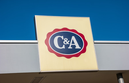 clothing stores: ESCHWEILER, GERMANY FEBRUARY, 2017: C & A store sign. C & A is an international Dutch chain of fashion retail clothing stores. It has retail stores in many countries in Europe, Central and South America.