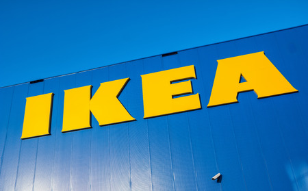 HEERLEN, NETHERLANDS FEBRUARY, 2017: Close up of the sign at the Ikea furniture store building. Editorial