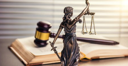 Legal office of lawyers legally bronze statue of model themis goddess of justice with gavel