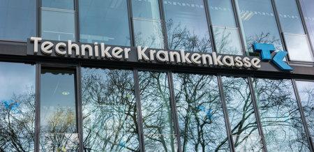 statutory: AACHEN, GERMANY FEBRUARY, 2017: llogo of the brand TK - Techniker Krankenkasse. The Techniker Krankenkasse (TK) is a replacement fund and THEREFORE the statutory health insurance fund in germany.
