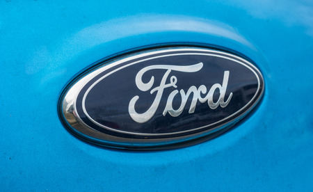 AACHEN, GERMANY FEBRUARY, 2017: Ford Sign Close-Up. The Ford Motor Company is an American multinational automaker. Ford is the second-largest US-based automaker.