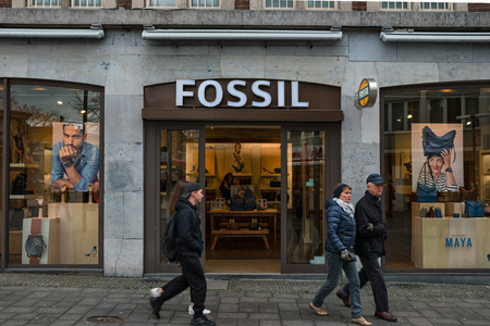 AACHEN, GERMANY FEBRUARY, 2017: Boutique Fossil. Fossil, Inc. is an American designer and manufacturer of clothing and accessories with annual Revenues of $ 2 trillion.