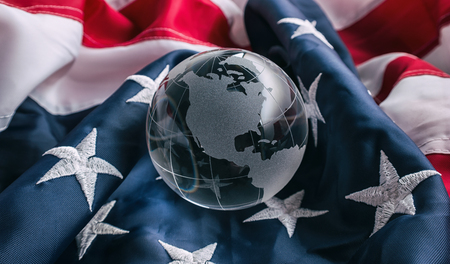 Glass globe with American flag