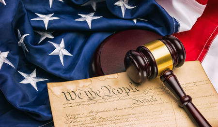 preamble: American Constitution - We the people with USA Flag and judge gavel