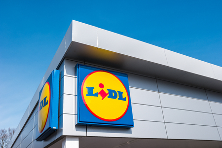 AACHEN, GERMANY MARCH, 2017: LIDL supermarket chain sign. LIDL is a German global discount supermarket chain, based in Neckarsulm, Baden-Wuerttemberg, Germany. Editorial