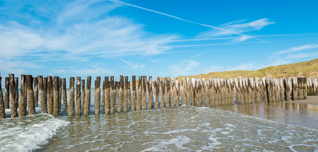 Seascape with wave breakers at Domburg, Netherlands Stock Photo