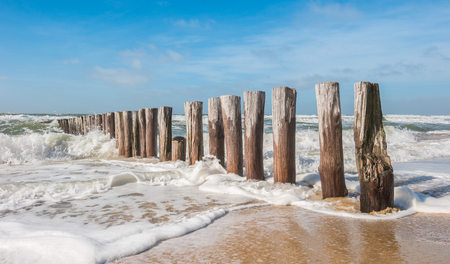 Timber Piles with ocean waves at the beach Stok Fotoğraf