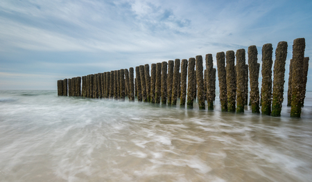 beach landscape with wave breakers in the Netherlands
