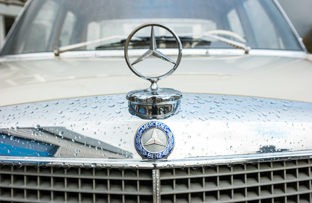 concept car: AACHEN, GERMANY MARCH, 2017: Mercedes Benz classic car logo on a car grill. Mercedes-Benz is a German automobile manufacturer. The brand is used for luxury automobiles, buses, coaches and trucks.