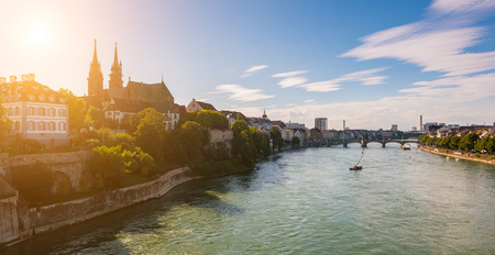 Old town of Basel with red stone Munster cathedral on the Rhine river, Switzerland Stock Photo