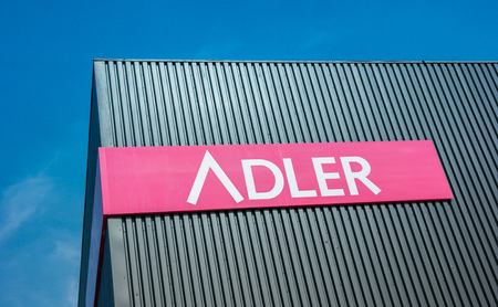 ag: AACHEN, GERMANY MARCH, 2017: Adler fashion logo. Adler Fashion AG is located in Haibach near Aschaffenburg, is a listed retailer chain with 174 stores in Germany, Austria, Luxembourg and Switzerland.