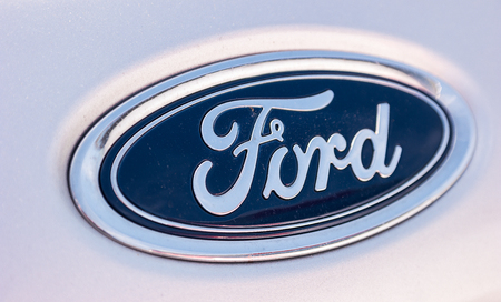 AACHEN, GERMANY MARCH, 2017: Ford Sign Close-Up. The Ford Motor Company is an American multinational automaker. Ford is the second-largest US-based automaker.