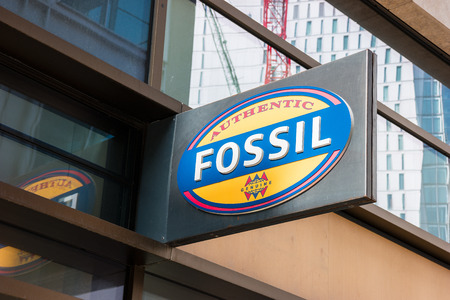 FRANKFURT, GERMANY MARCH, 2017: Boutique Fossi LogoL. Fossil, Inc. is an American designer and manufacturer of clothing and accessories with annual Revenues of $ 2 trillion.