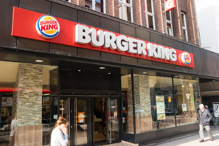 FRANKFURT, GERMANY MARCH, 2017: Burger King sign. Burger King, oft abbreviated as BK, is a global chain of hamburger fast food restaurants, United States.
