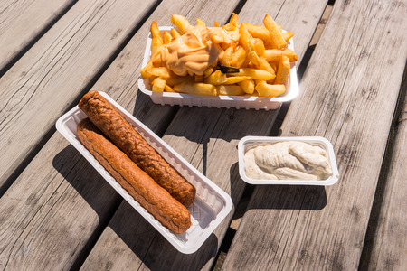 Belgian Fries with sauce Andalouse and frikandel