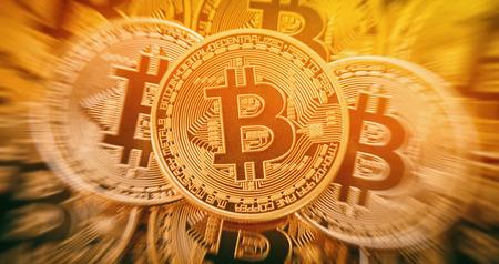 Tas de bitcoins d'or. image conceptuelle pour la crypto-monnaie. Banque d'images - 77902797