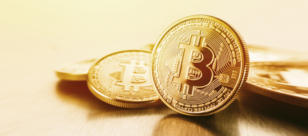 Foto gouden Bitcoins (nieuw virtueel geld)