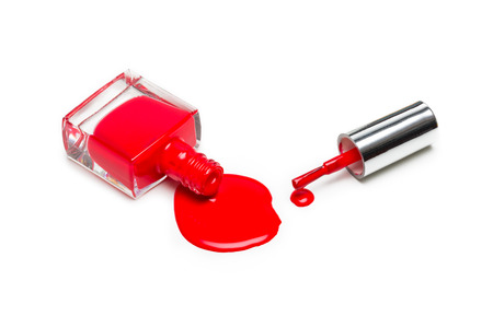 Red nail polish isolated on white background Фото со стока - 79723155