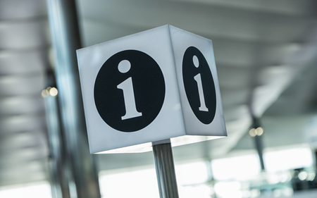inform information: Info point symbol on a airport Stock Photo
