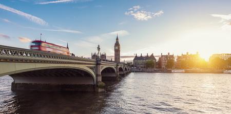 water bus: Big Ben and Westminster Bridge at dusk, London, UK