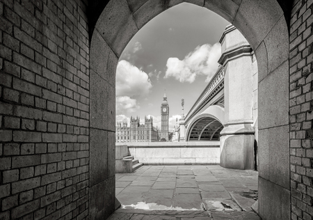 passageway: Big Ben and houses of parliament by the pedestrian tunnel in London, England