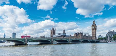 water bus: Big Ben and Westminster Bridge in London, uk
