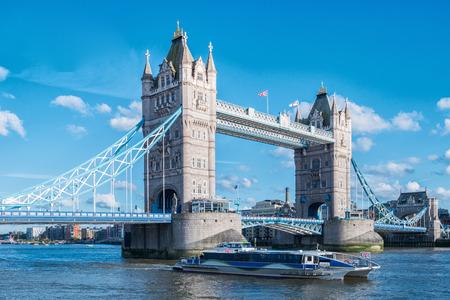 water bus: Tower Bridge on River Thames London UK