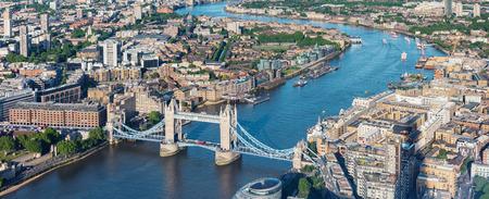London aerial view with Tower Bridge Фото со стока