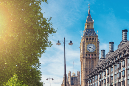britan: Big Ben and at summer in London, UK Stock Photo