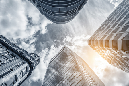 dramatic characters: Low angle view of skyscrapers in london Stock Photo