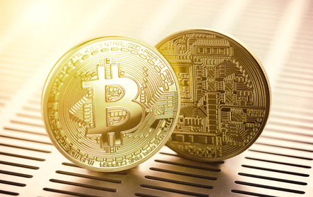Golden bitcoin. Trading concept of crypto currency