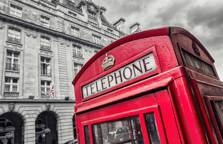 antique booth: Traditional Red Telephone Box in London UK