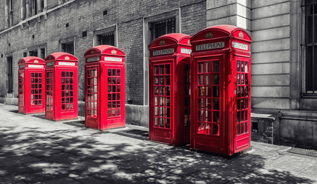 ed telephone booths in London, uk