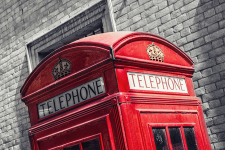 Red telephone booth n London, England, the UK. The symbol of London.