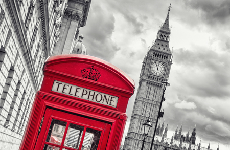 payphone: 5 min before 12 o`clock in London at the Big ben with red telephone box