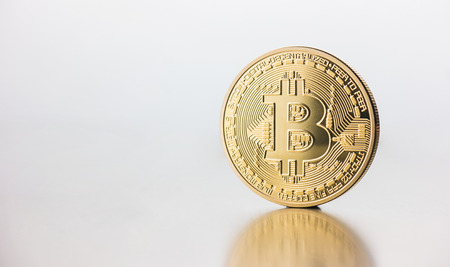 Cryptocurrency physical golden Bitcoin coin Stok Fotoğraf - 82718465