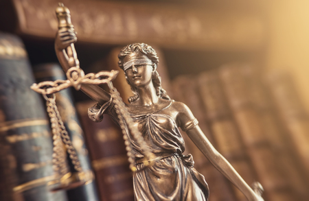 The Statue of Justice - The Lady Justice or Iustitia - Justitia the Roman goddess of Justice Stock Photo