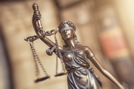Statue of Justice - Lady Justice or Iustitia - Justitia the Roman goddess of Justice Stock Photo
