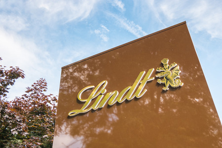 AACHEN, GERMANY APRIL, 2017: Lindt company logo. Lindt is a brand of Lindt & Sprungli AG - a Swiss company, founded in 1845.