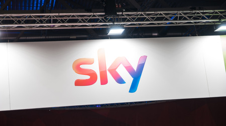 COLOGNE, GERMANY SEPTEMBER, 2017: Sky logo. Sky i a Pan-European satellite broadcasting, on-demand internet streaming media, broadband and telephone services.