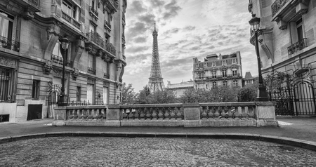 View from the Avenue de Camoens of the Eiffel Tower in paris, france