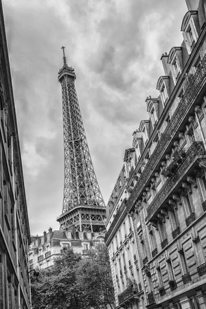 blackwhite: The Eiffel Tower in Paris, France in black and white colors