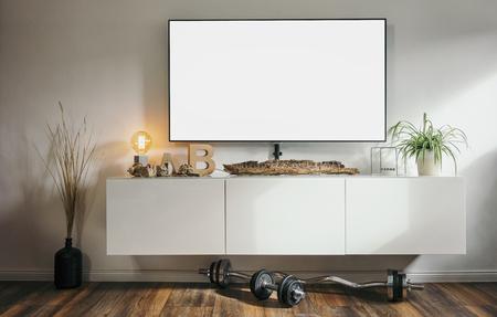 loft apartment living room with modern 4K smart TV