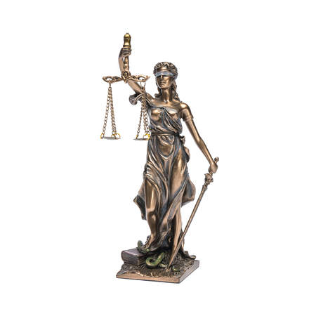 The statue of justice - lady justice or Iustitia isolated on the white background Stock Photo