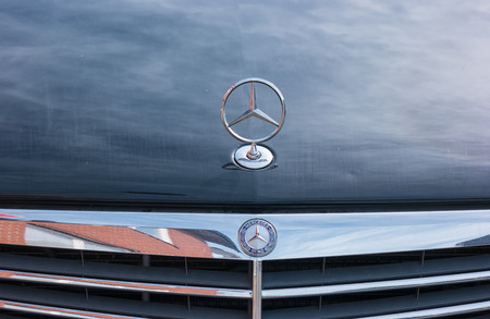 AACHEN, GERMANY OCTOBER, 2017: Mercedes-Benz logo logo on a car. Mercedes-Benz is a German automobile manufacturer. The brand is used for luxury cars, buses, coaches and trucks. Editorial