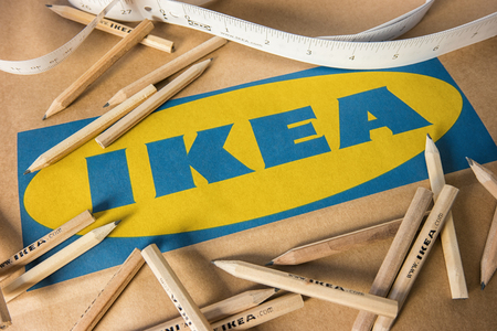 AACHEN, GERMANY OCTOBER, 2017: IKEA pencils and IKEA paper bag. IKEA Founded in Sweden in 1943, Ikea is the world's largest furniture retailer. Stock fotó - 87144522