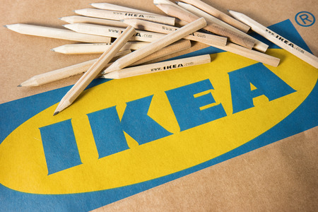 AACHEN, GERMANY OCTOBER, 2017: IKEA pencils placed on a IKEA paper bag. IKEA Founded in Sweden in 1943, Ikea is the worlds largest furniture retailer. Editorial