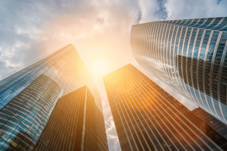 Low angle view of modern skyscrapers Stock Photo