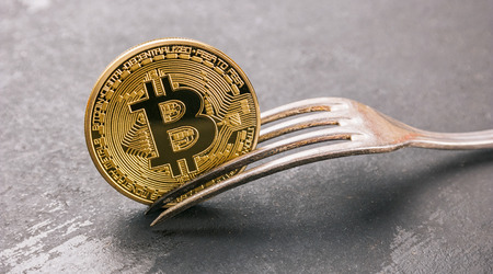 bitcoin (BTC) Hard Fork, golden cryptocurrency concept image