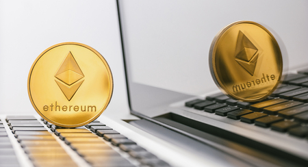 ethereum coin - digital cryptocurrency on notebook
